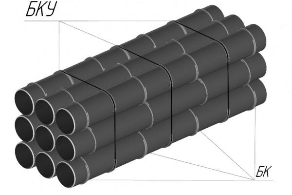 Пример упаковки труб в пакет с применением бандажных колец